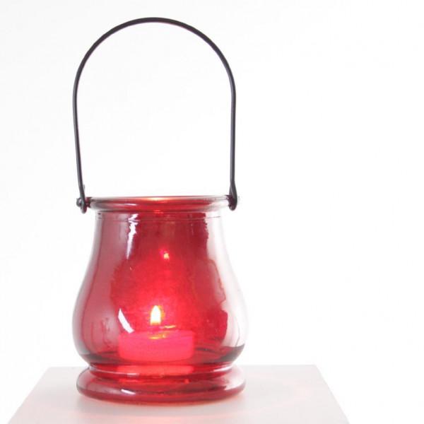 Teelichthalter Glastopf rot