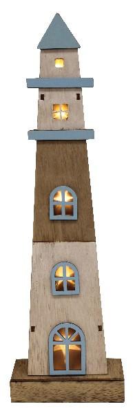 Leuchtturm mit LED blau/beige/braun