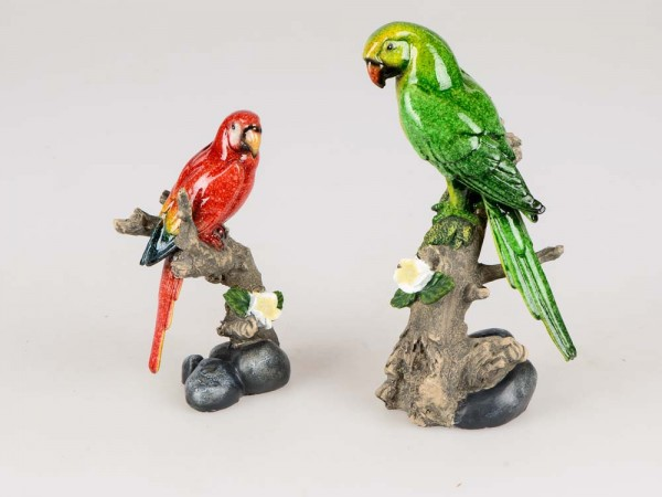 Papagei auf Zweig handbemalt 2f