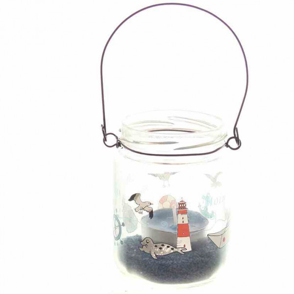 Teelichthalter mit Henkel maritim inkl. Deko