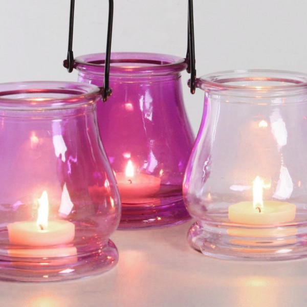 Teelichthalter Glastopf lila